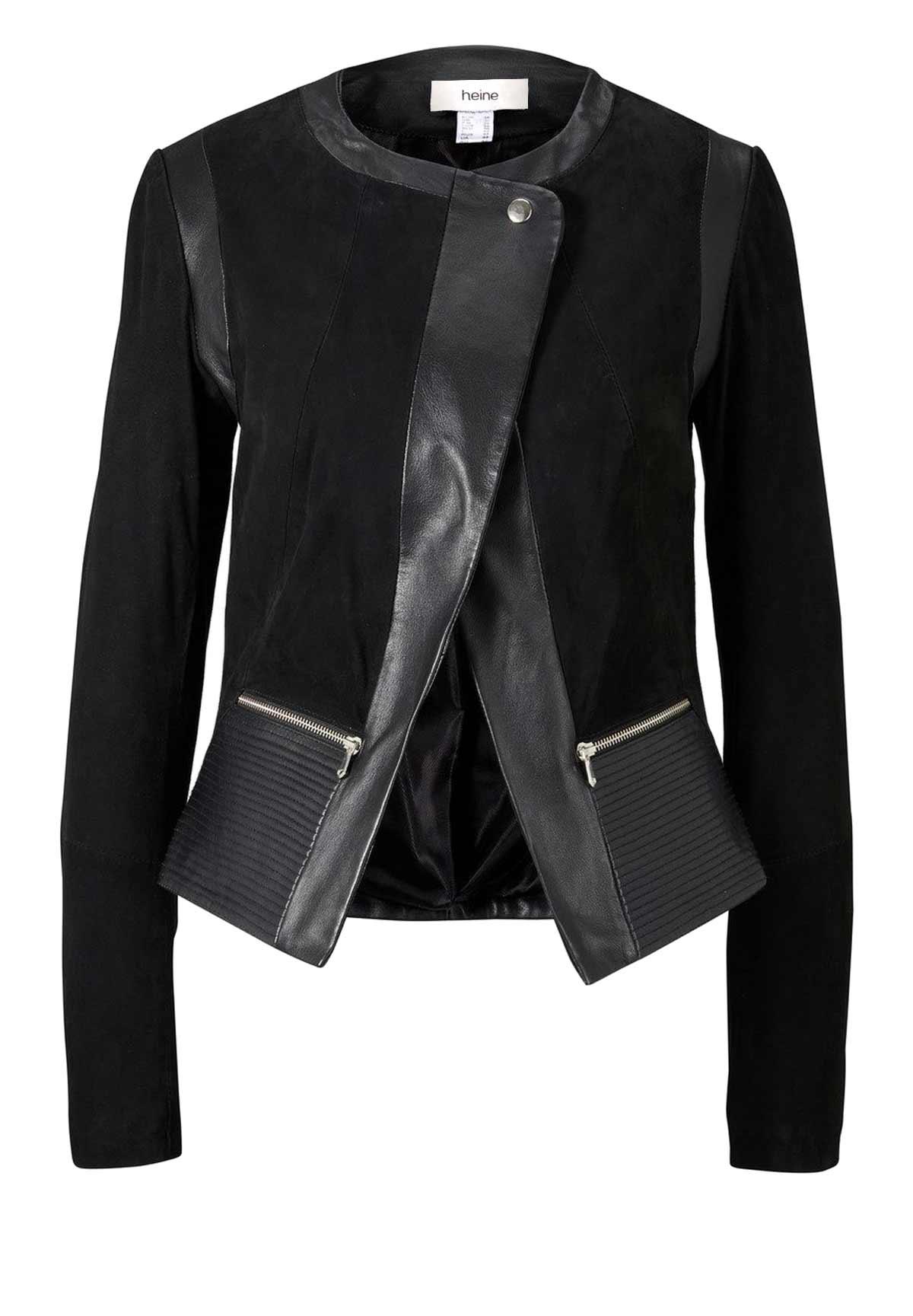 jacken auf rechnung bestellen als neukunde HEINE Damen Designer-Lammnappa-Ziegenvelourslederjacke Schwarz Lederjacke weich 566.392a MISSFORTY