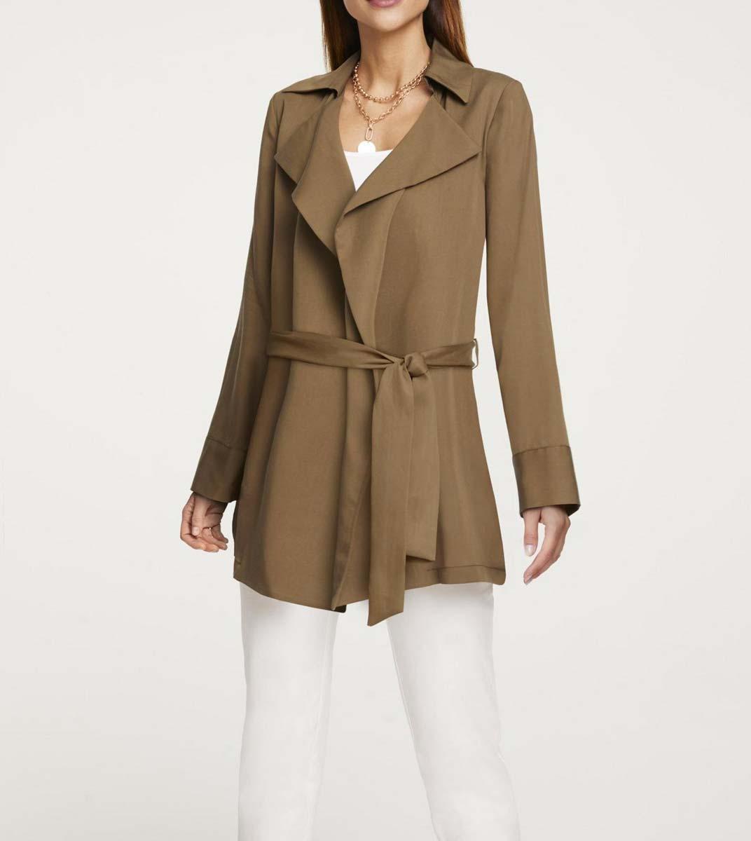 jacken auf rechnung bestellen als neukunde Damenjacken Damen Jacke lang braun Damenjacke Frühling elegant mit Gürtel Heine 566.949 MISSFORTY
