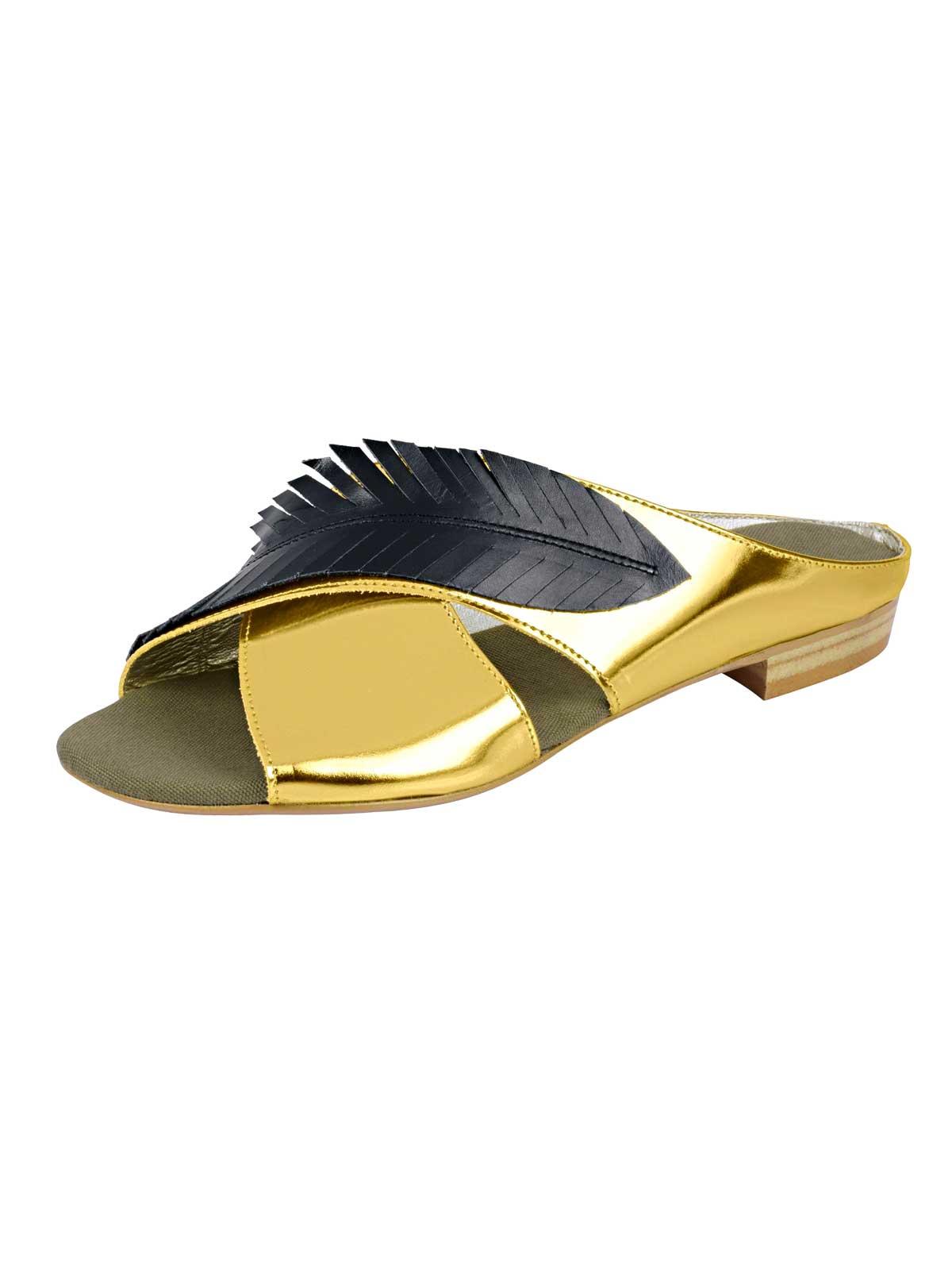 578.704 HEINE Damen Designer-Pantolette Goldfarben-Schwarz