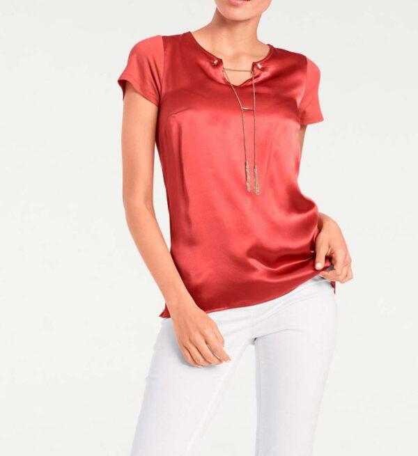617.651 PATRIZIA DINI Shirt mit Seide und Kette, rot