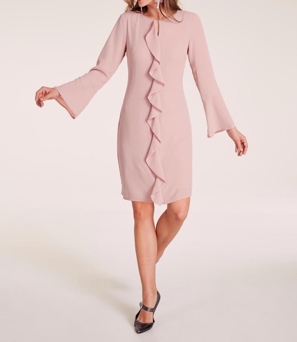 business kleider für damen HEINE Damen Designer-Etuikleid m. Volants Rosé 623.930 Missforty