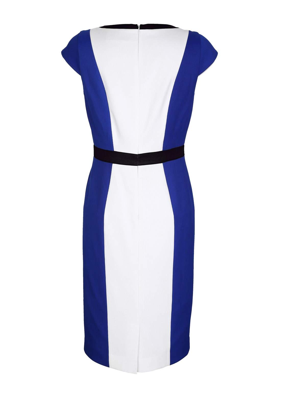 business kleider für damen AMY VERMONT Damen-Etuikleid Royalblau-Weiß 630.672 Missforty