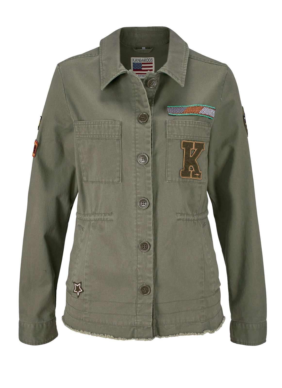 jacken auf rechnung bestellen als neukunde KangaROOS Damen-Jacke Military-Style-Jacke, oliv 632.057 MISSFORTY
