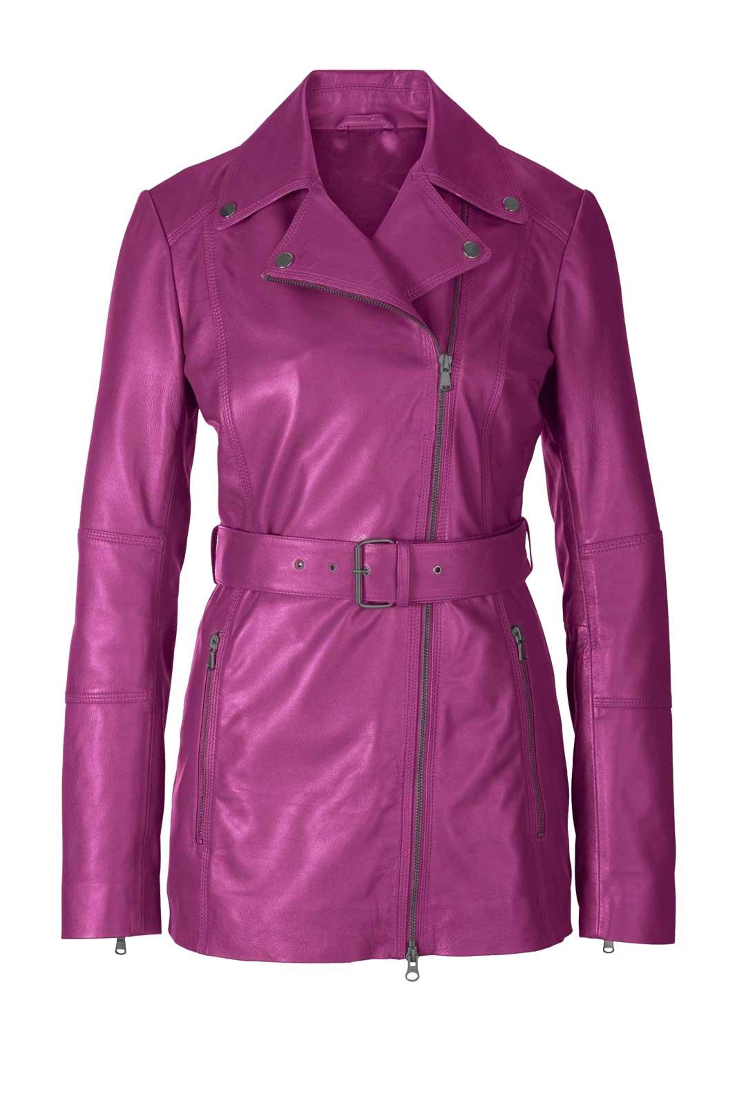 jacken auf rechnung bestellen als neukunde HEINE Damen Designer-Lammnappa-Lederjacke Echtlederjacke Gürtel Pink 644.462 MISSFORTY