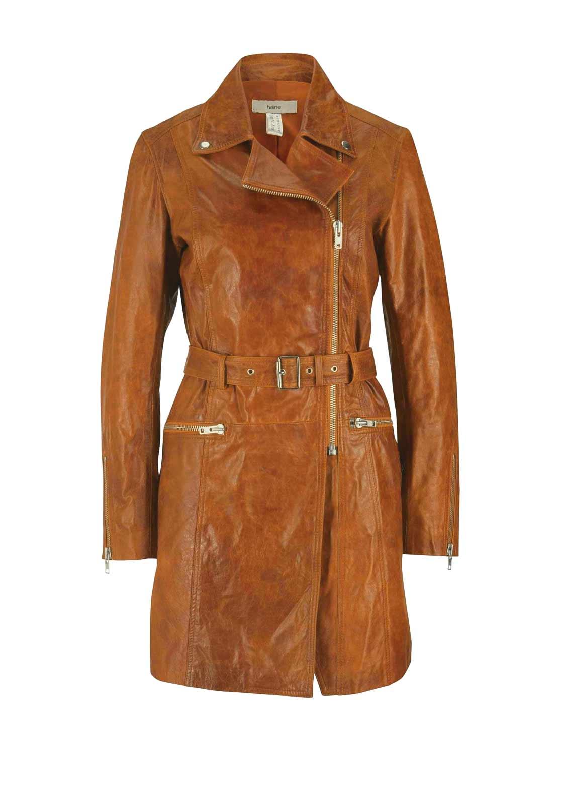 Damenmäntel Frühjahr 2021 HEINE Damen Designer-Lammnappa-Ledermantel Mantel Echt Leder 44 Cognac Braun 674.362 Missforty