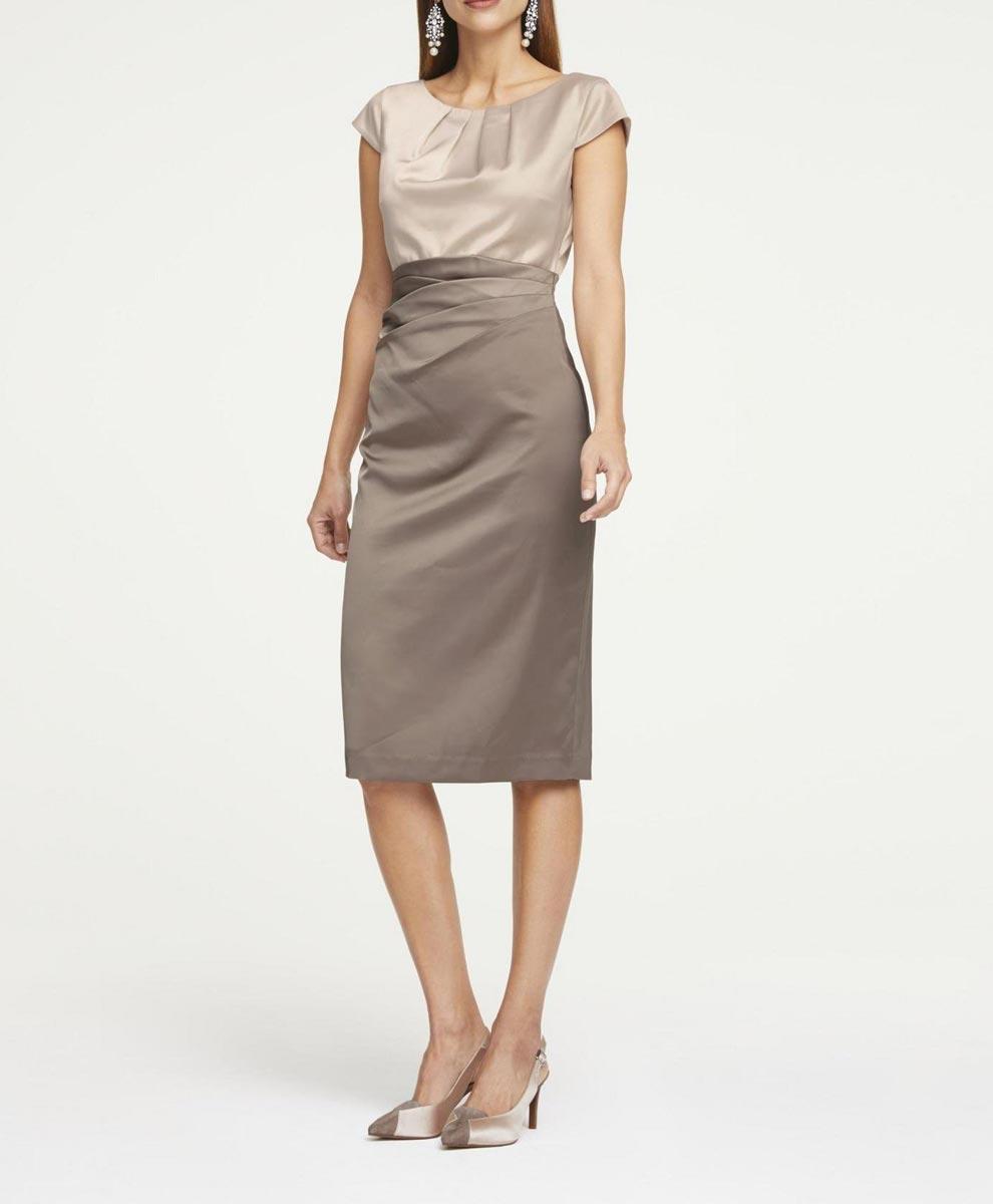 business kleider für damen HEINE Damen Designer-Satin-Etuikleid Taupe 737.872 Missforty