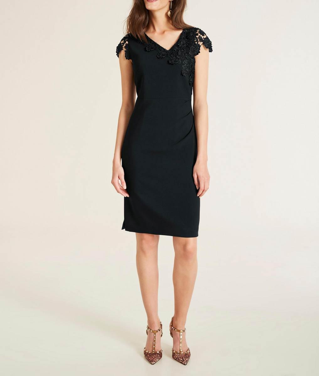 business kleider für damen ASHLEY BROOKE Damen Designer-Etuikleid m. Spitze Schwarz 738.504 Missforty