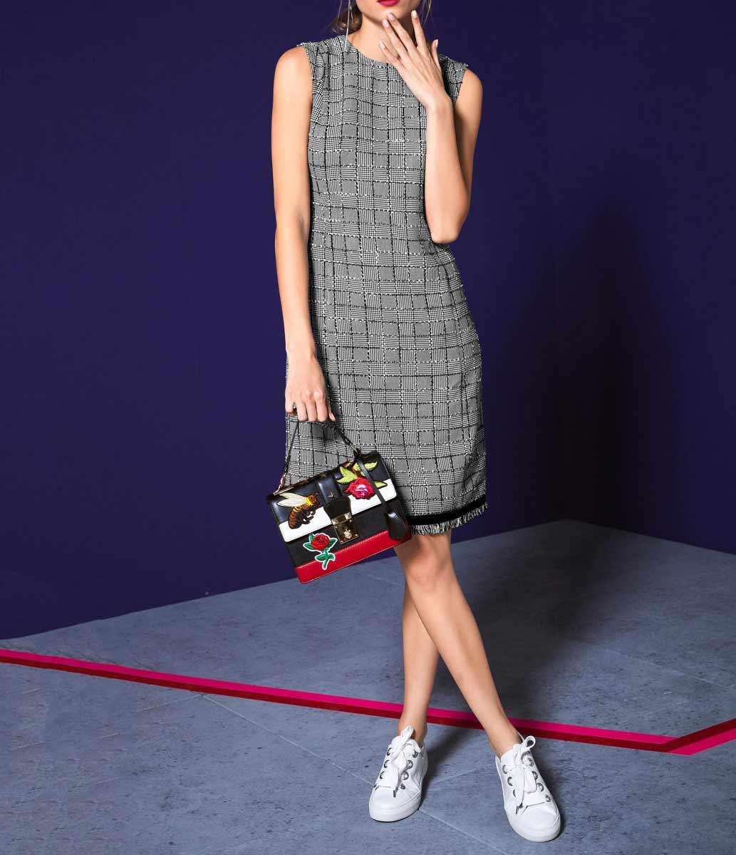 business kleider für damen RICK CARDONA Damen Designer-Etuikleid Schwarz-Weiß 765.155 Missforty