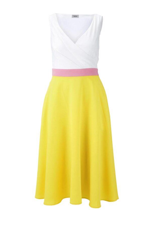 wadenlange kleider für besondere anlässe HEINE Damen Designer-Chiffonkleid Gelb-Offwhite 791.839 missforty