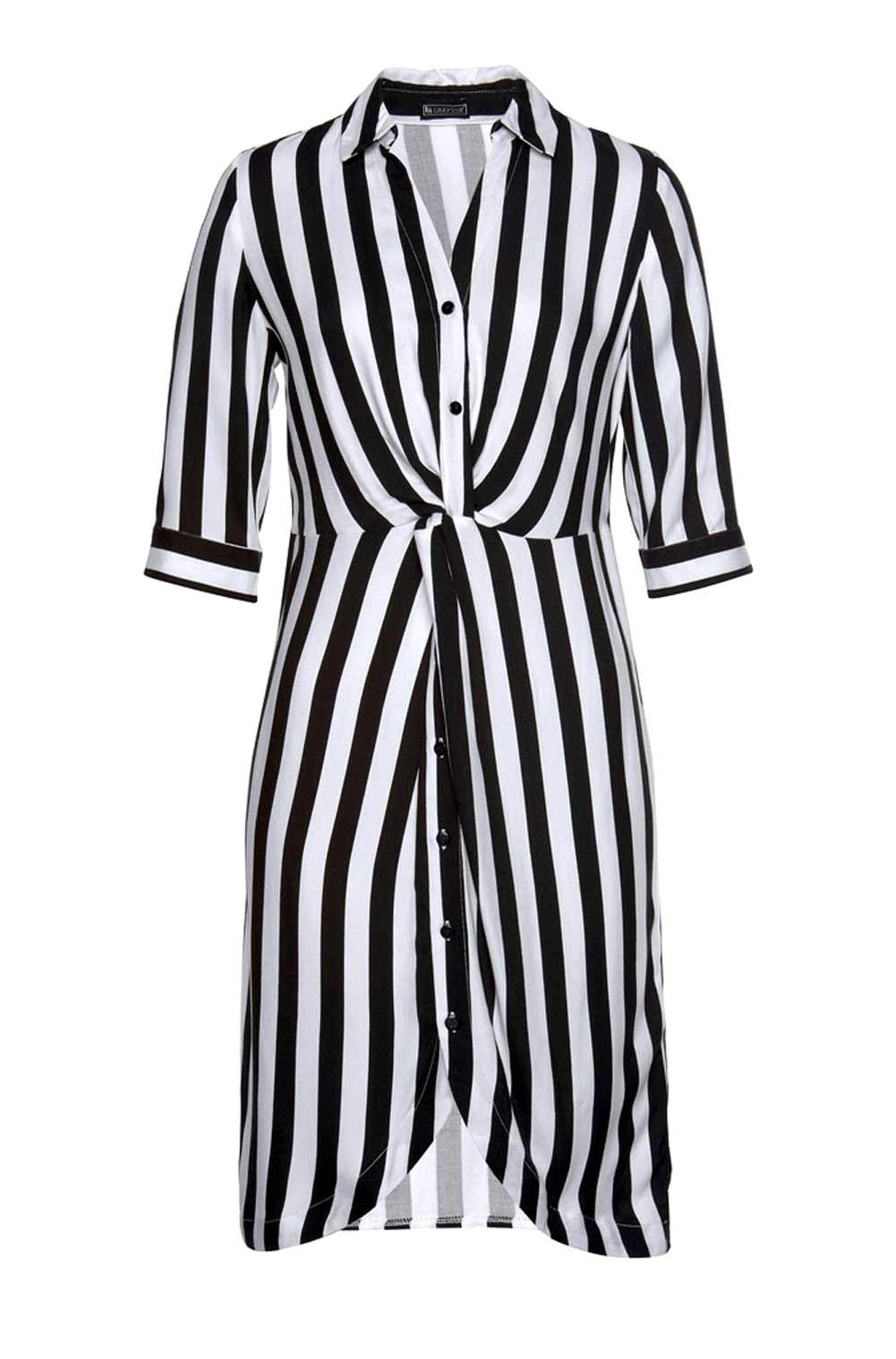 wadenlange kleider für besondere anlässe LAURA SCOTT Damen-Streifenkleid Schwarz-Weiß 813.321 missforty