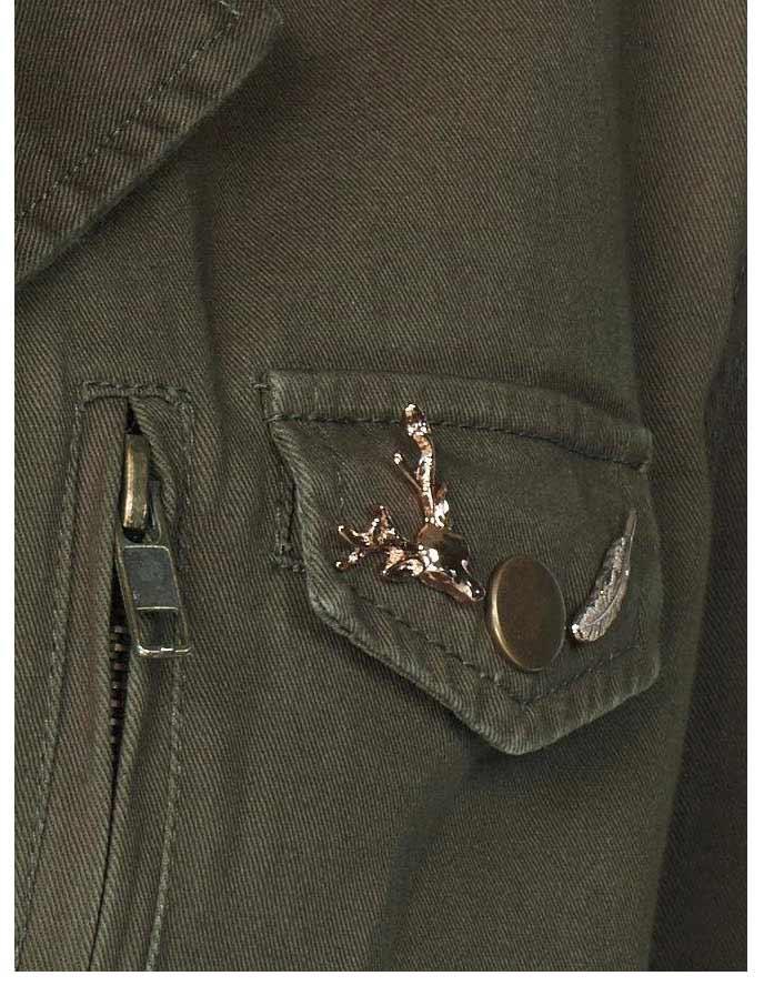 jacken auf rechnung bestellen als neukunde BLUE MONKEY Damen-Jacke m. Badges u. Pins Khaki Pailletten Military style 873.308 MISSFORTY