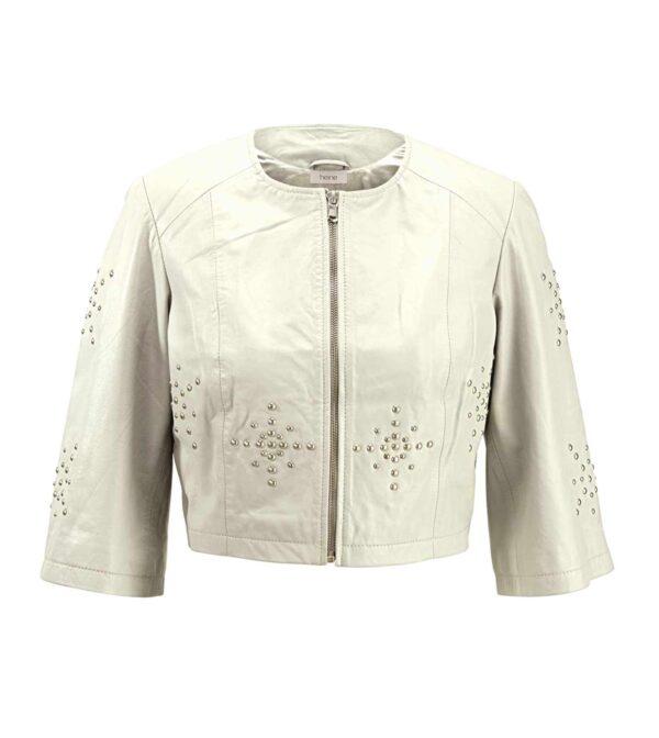 jacken auf rechnung bestellen als neukunde HEINE Damen Designer-Lammnappalederjacke m. Nieten Lederjacke Kurz Hell Creme 969.941 MISSFORTY