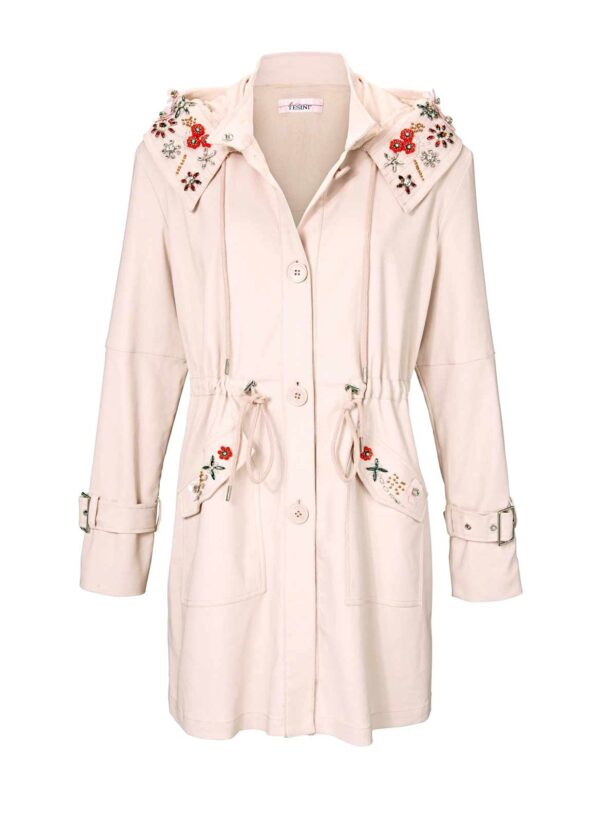 jacken auf rechnung bestellen als neukunde Damen Parka, rosè mit Stickerei 002.650a MISSFORTY