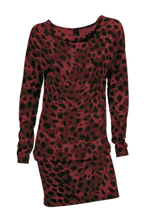 053.921 HEINE Damen Mini Strickkleid Stiefelkleid Kurz Leo Muster Leoparden Rot-Schwarz