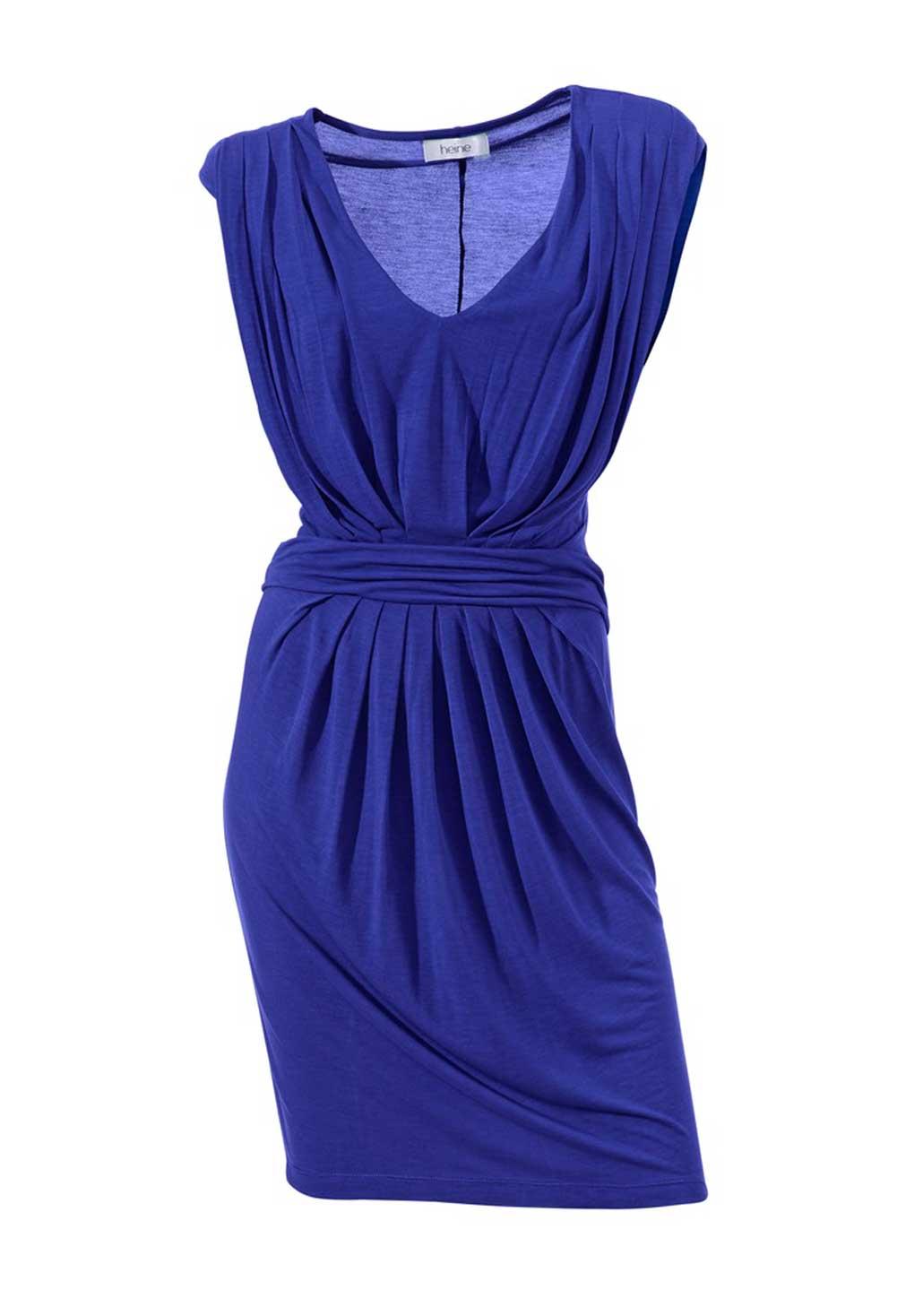 071.859 Sommerkleid Damen ärmellos blau Damenkleid kurz mit Raffungen Strandkleid