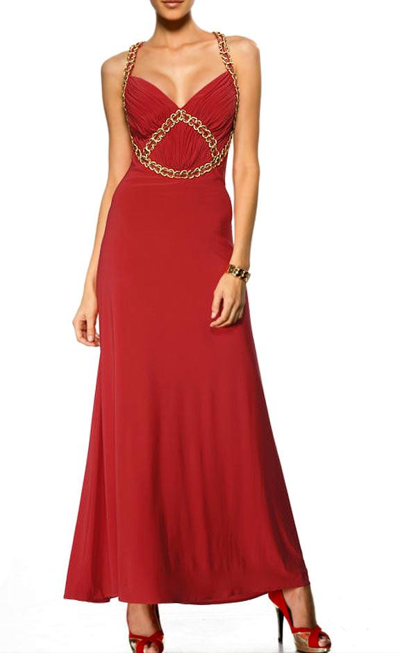 Festmoden Heine Abendkleid lang, rot-gold 082.899 Missforty