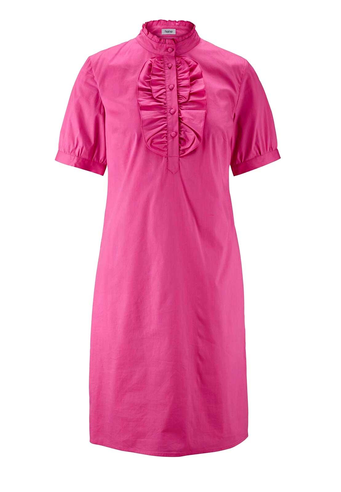 104.773 HEINE Damen Designer-Kleid m. Rüschen Himbeere