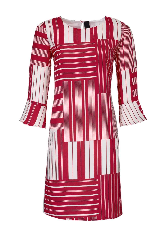 199.625 HEINE Damen Designer-Druckkleid Rot-Weiß
