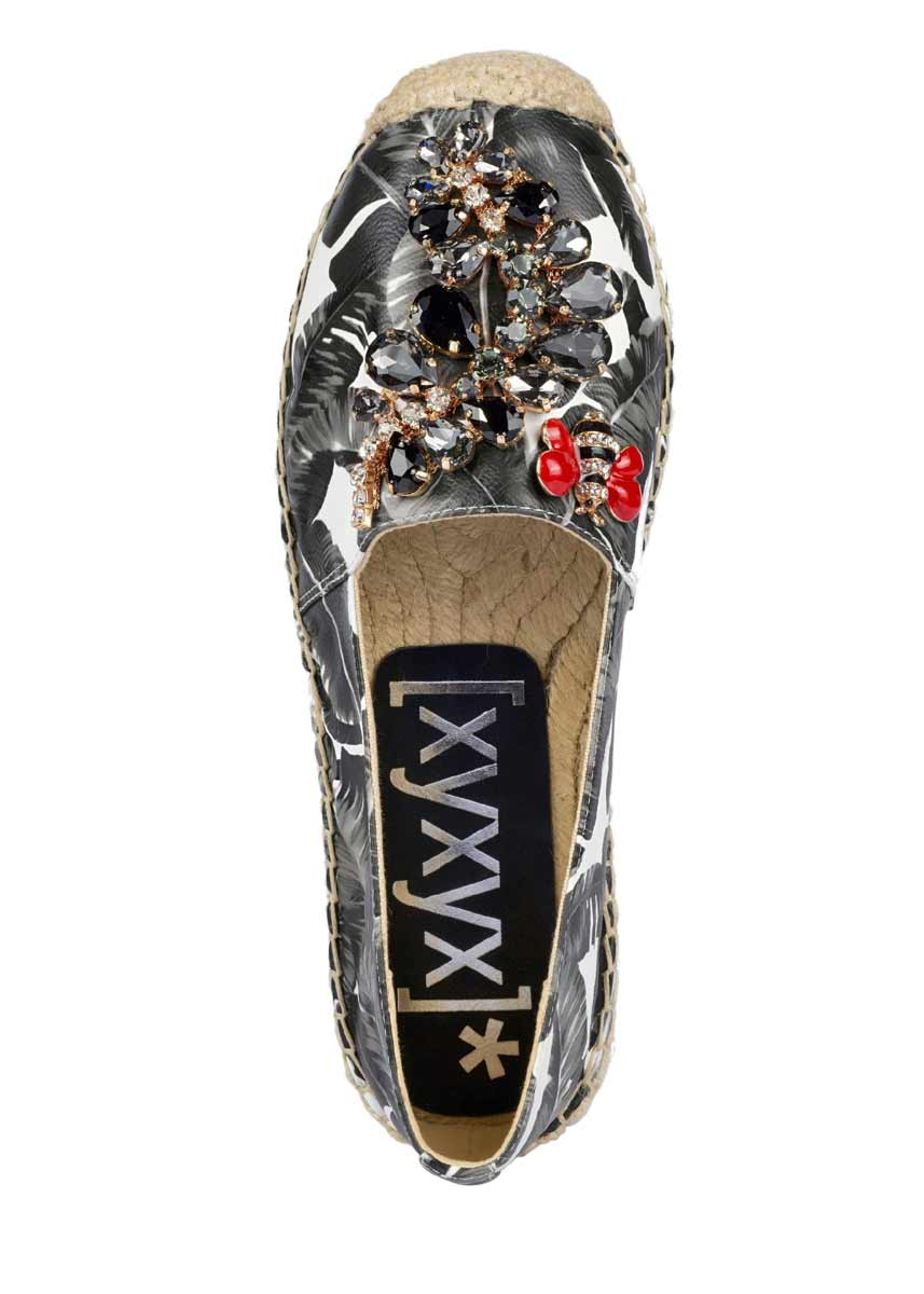 bequeme Schuhe xyxyx Espadrilles mit Strass schwarz weiß, 290.212 290.212 Missforty.