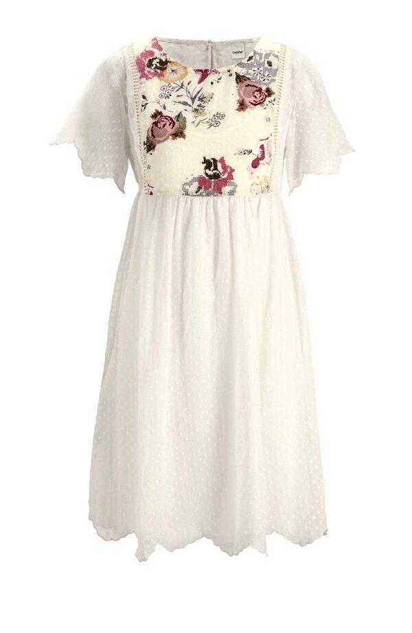 394.249 HEINE Damen Designer-Kleid m. Stickerei Ecru-Bunt