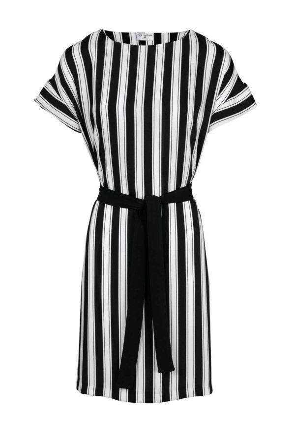 395.740 Heine Kleid mit Gürtel Schwarz-Weiß