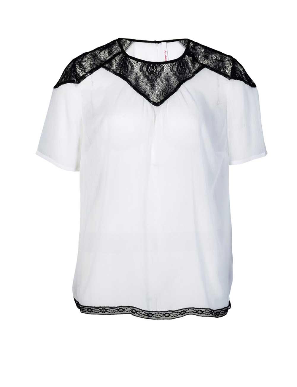 Chiffonbluse mit Spitze Oberteil kurzarm Damenbluse halbarm schwarz weiß Missforty