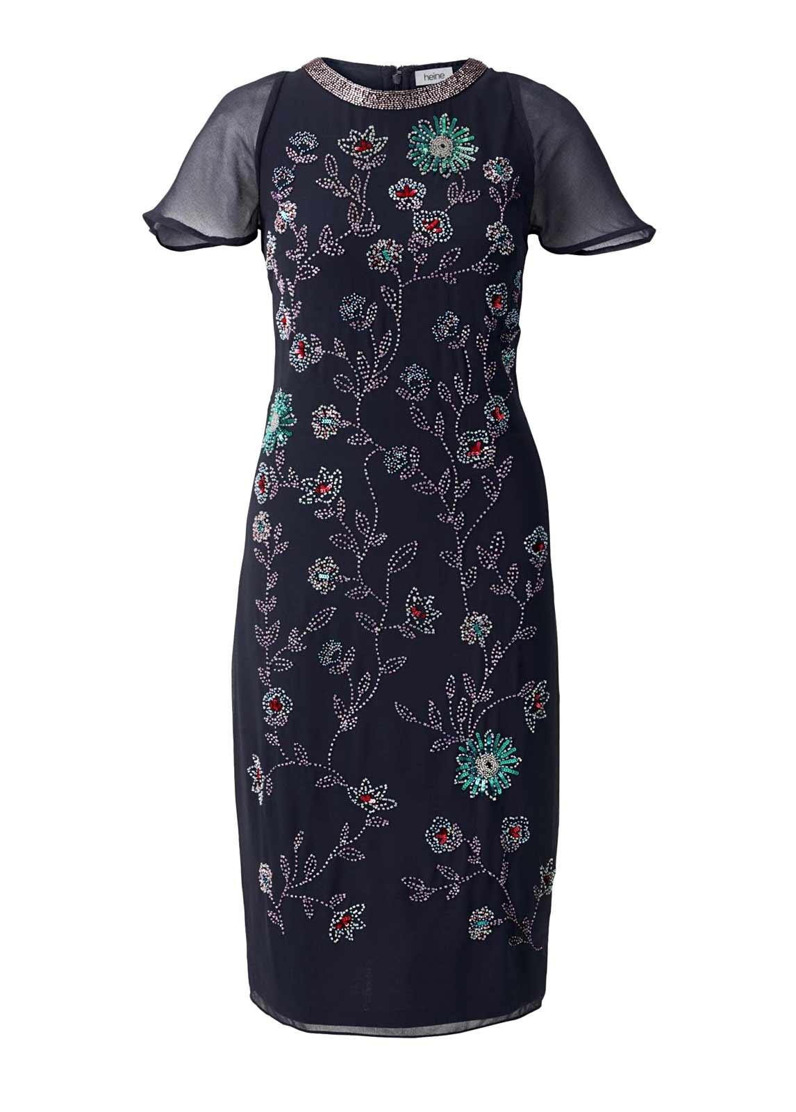kurzes kleid für besondere anlässe Heine Cocktailkleid mit Perlen-Stickerei Nachtblau 453.457 Missforty