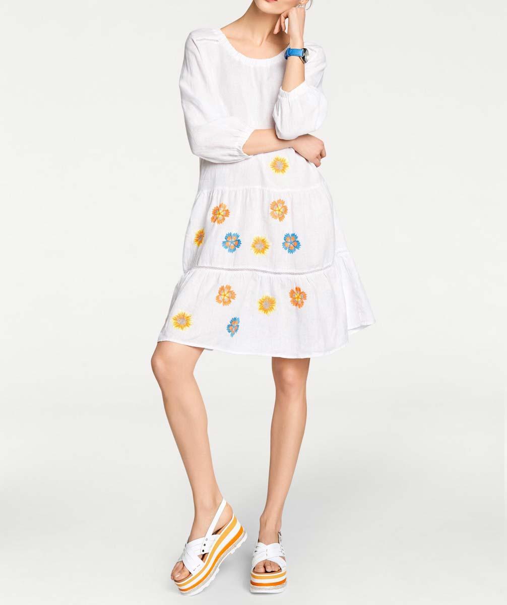526.498 HEINE Damen Designer-Leinenkleid m. Stickerei Weiß-Bunt