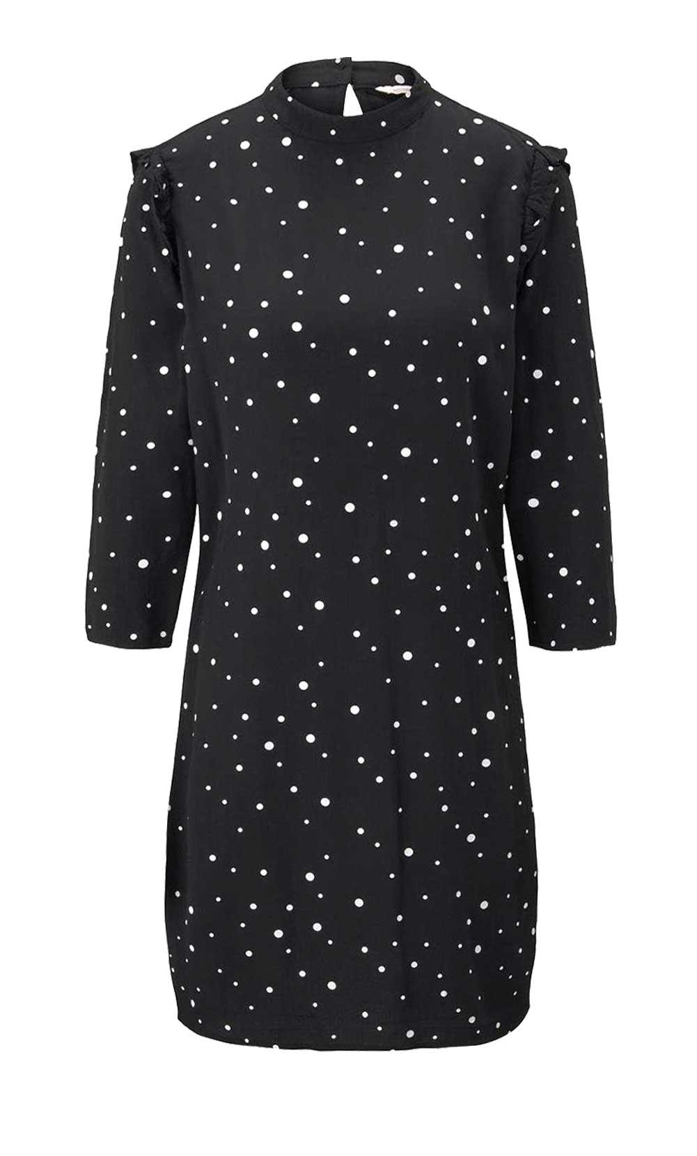 605.101 Kleid m. Rüschen, schwarz-weiß von Tom Tailor Denim Grösse S