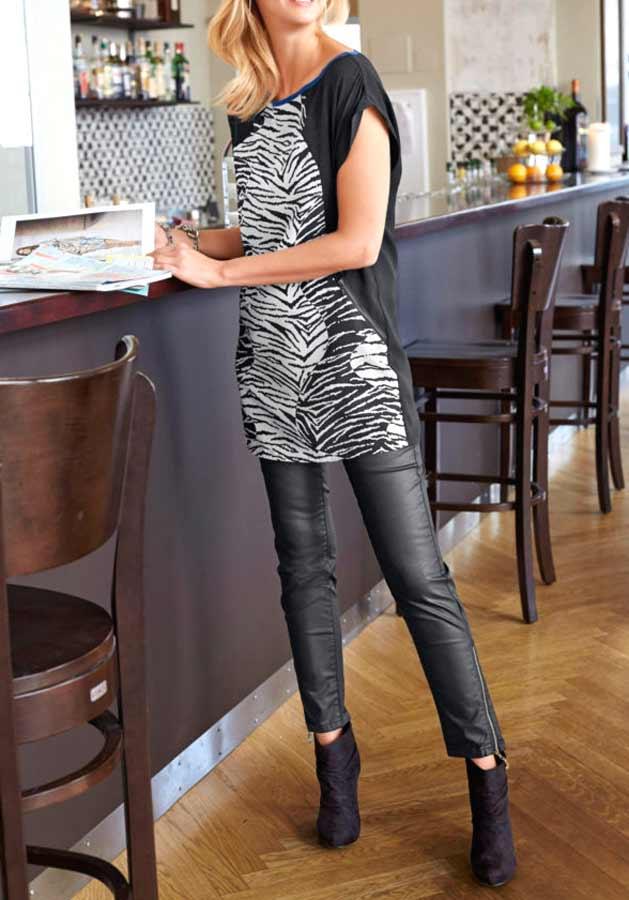 Tamaris Tunika Bluse, schwarz-weiß 637.140 Missforty