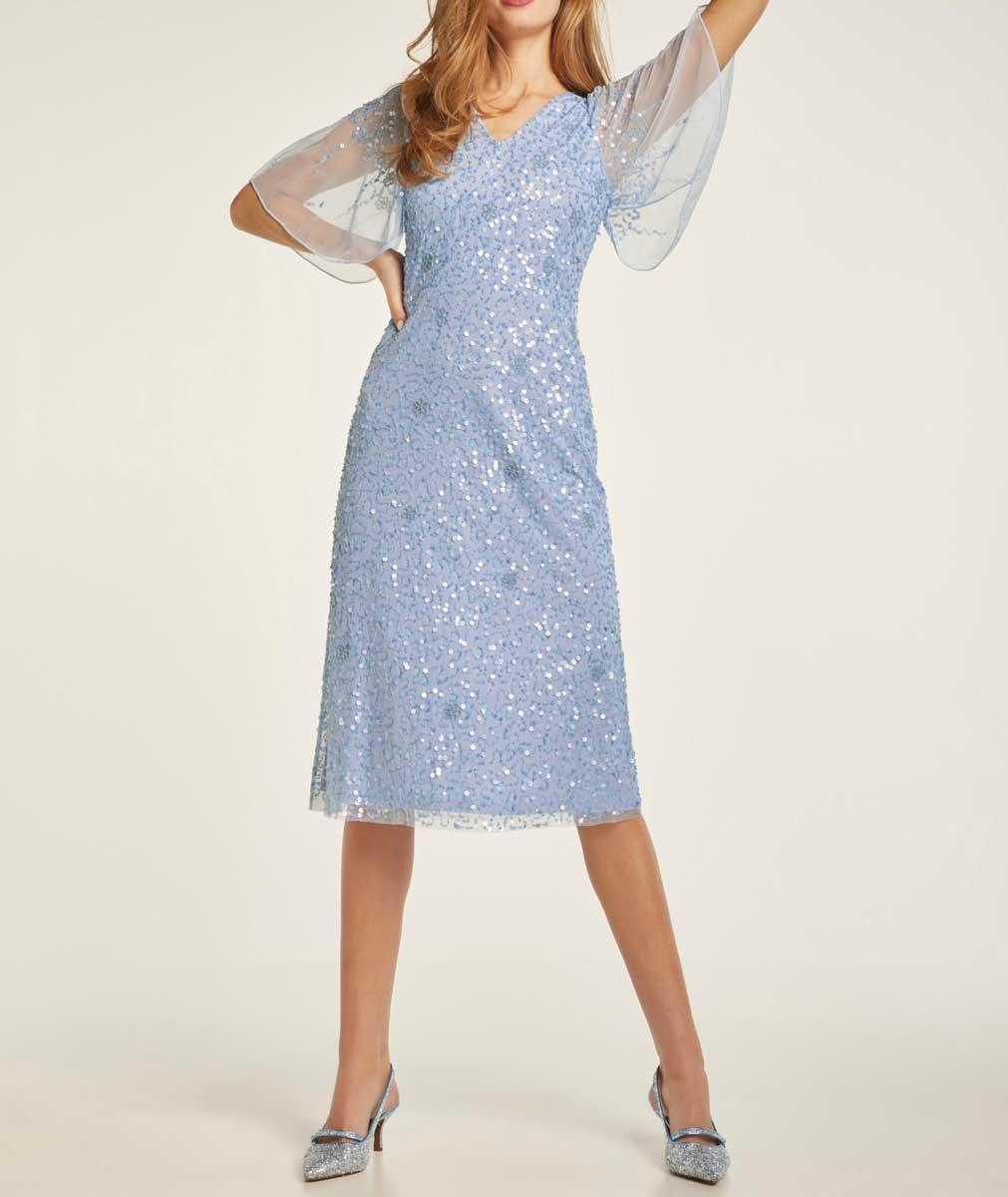 kurzes kleid für besondere anlässe Heine Cocktailkleid mit Pailletten hellblau 690.052 Missforty