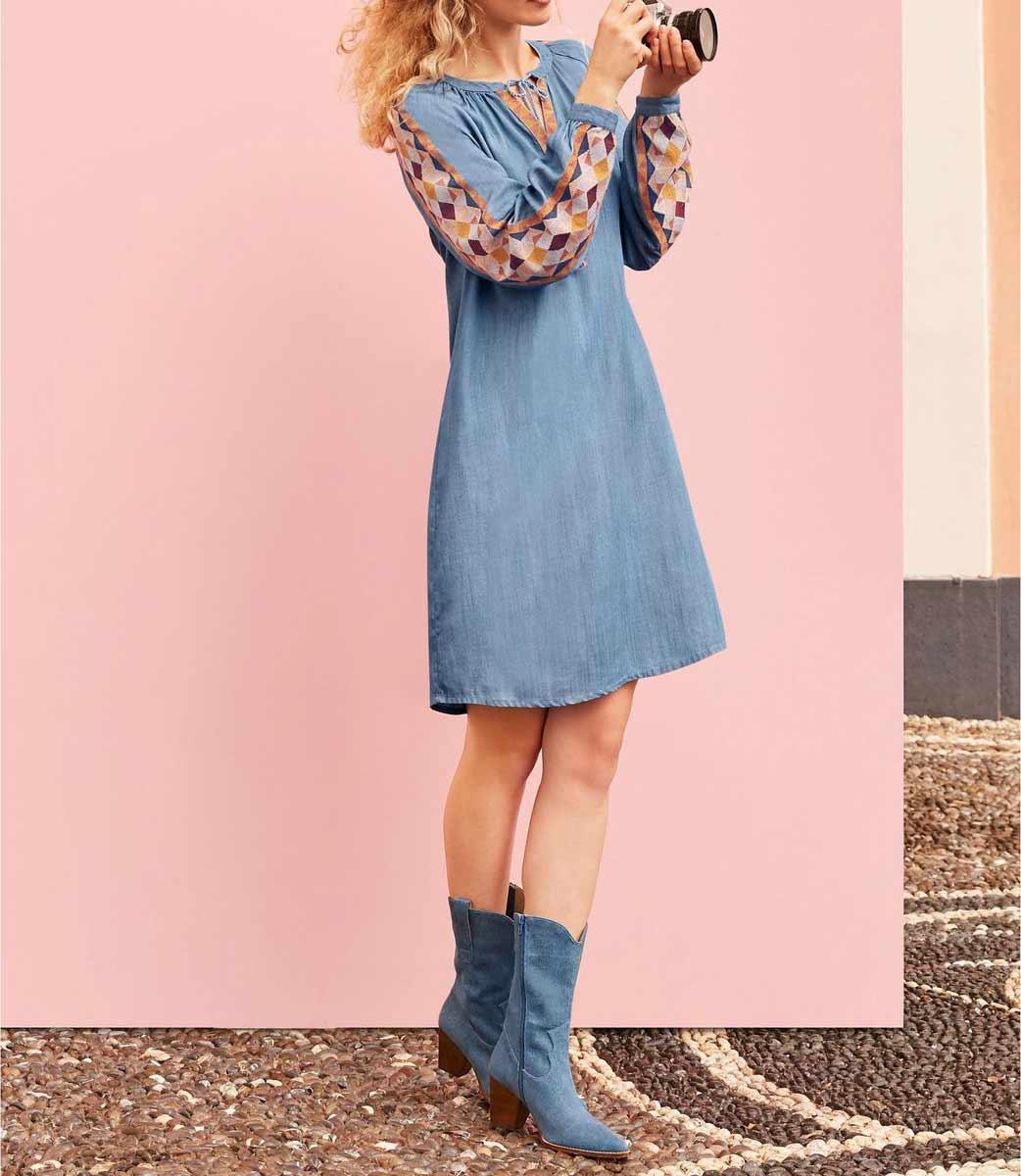 740.624 HEINE Damen Designer-Jeanskleid m. Stickerei Hellblau