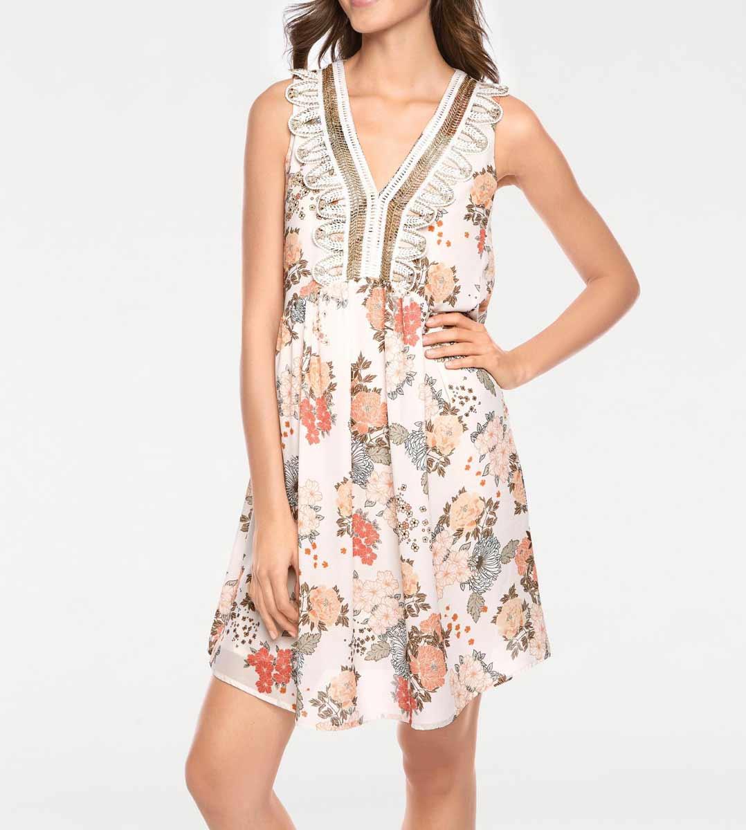 794.803 Sommerkleid Babydoll Kleid Hängerchen bunt Blumenmuster Damenkleid