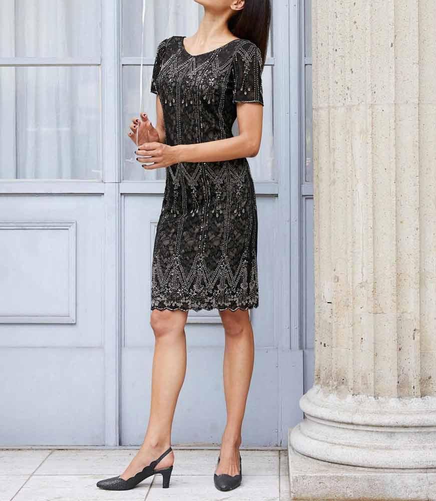 kurzes kleid für besondere anlässe Heine Cocktailkleid mit Perlen-Stickerei schwarz 959.470 Missforty