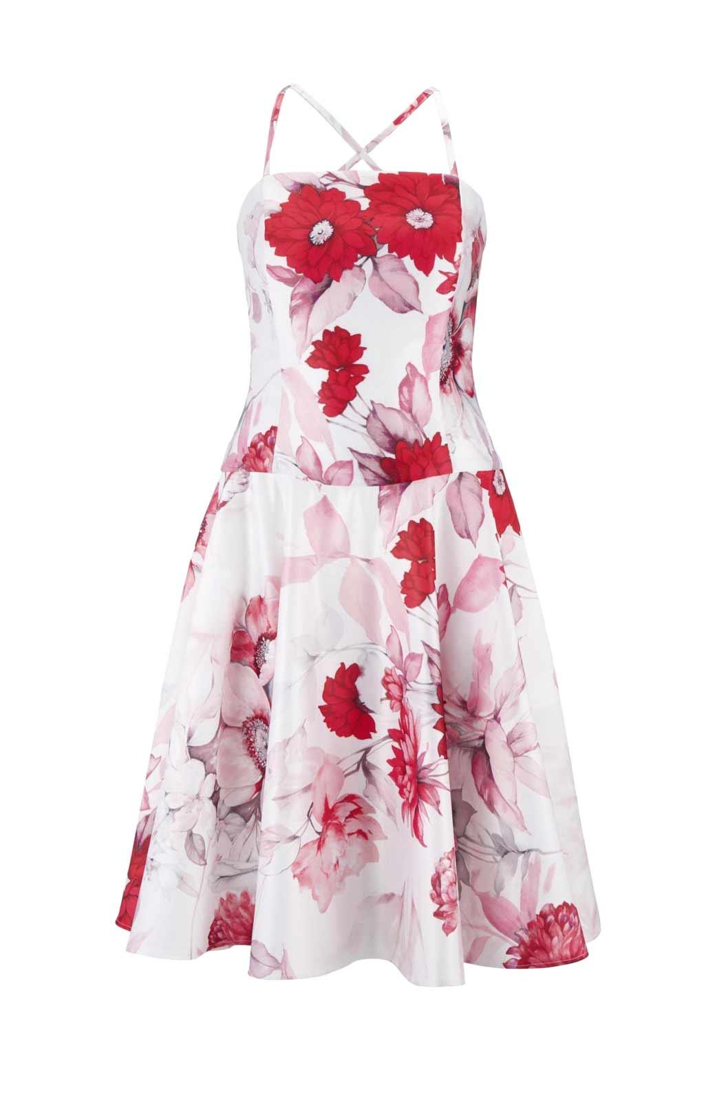 986.320 Heine Kleid mit Corsagen, Weiß-Rot