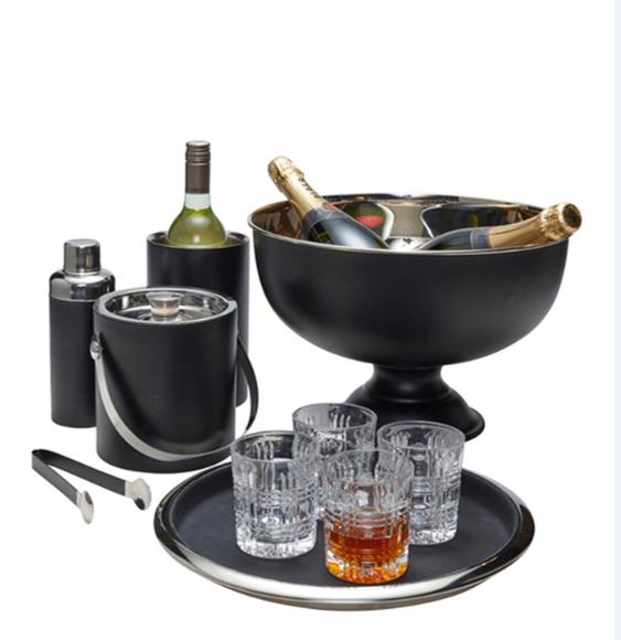 7705 Sektkühler Champagnerschale Flaschenkühler schwarz Pearl Ř 36,5 cm