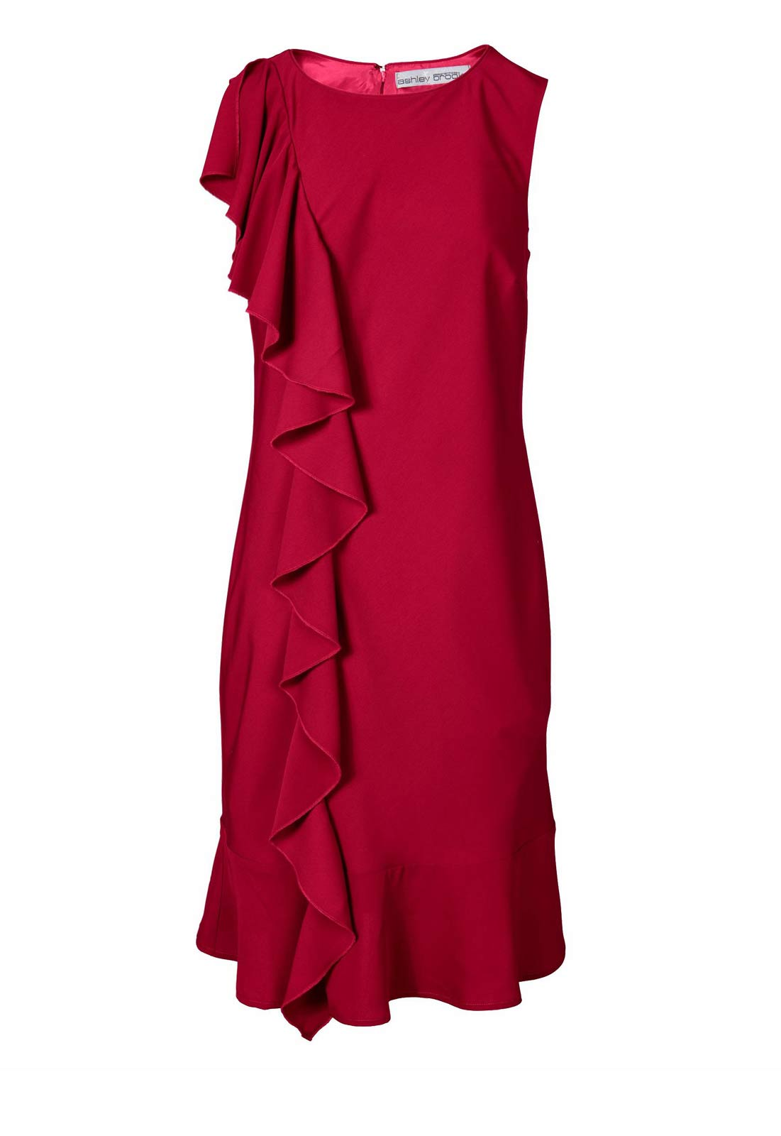 006.981 ASHLEY BROOKE Damen Designer-Volantkleid Rot