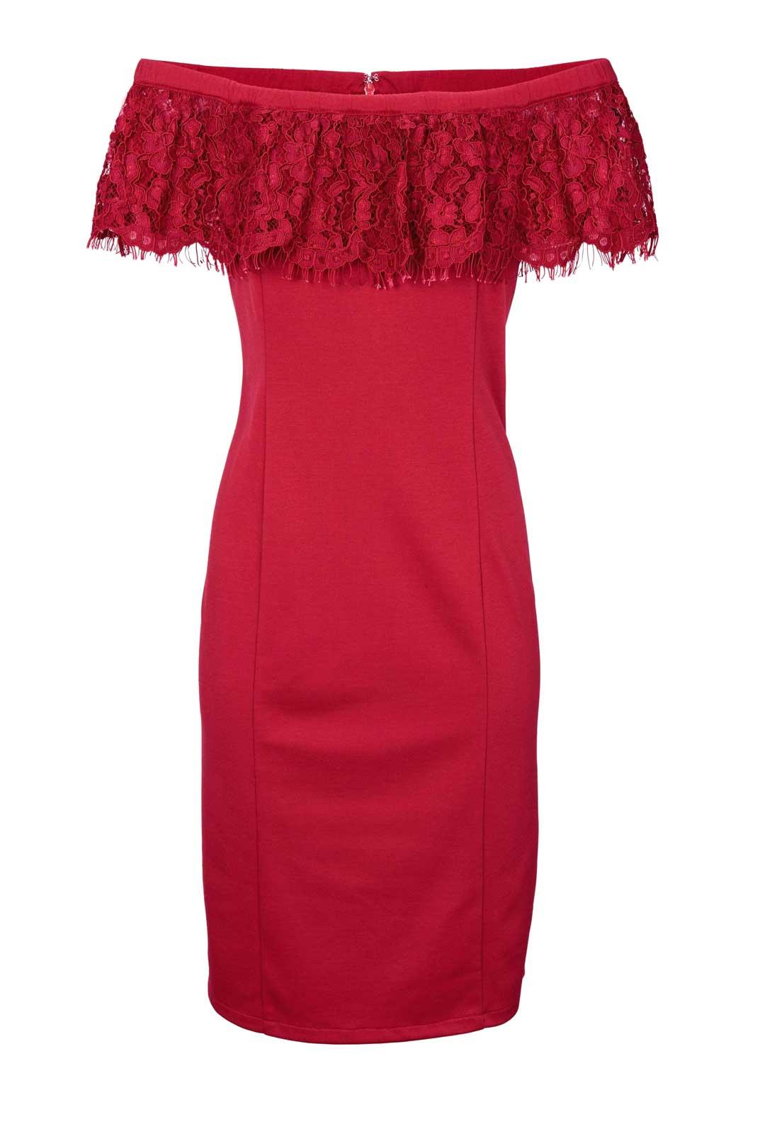 008.057 ASHLEY BROOKE Damen Designer-Carmenkleid m. Spitze Rot