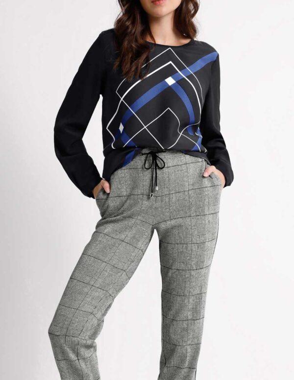 Création L Premium Bluse, schwarz-royalblau 149.610 Missforty