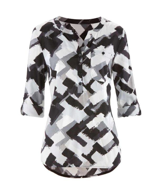Création L Bluse, weiß-grau-schwarz 512.855 Missforty