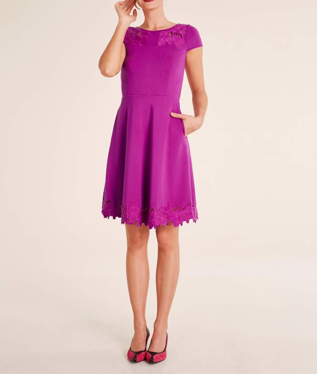 568.730 ASHLEY BROOKE Damen Designer-Kleid m. Stickerei Pink