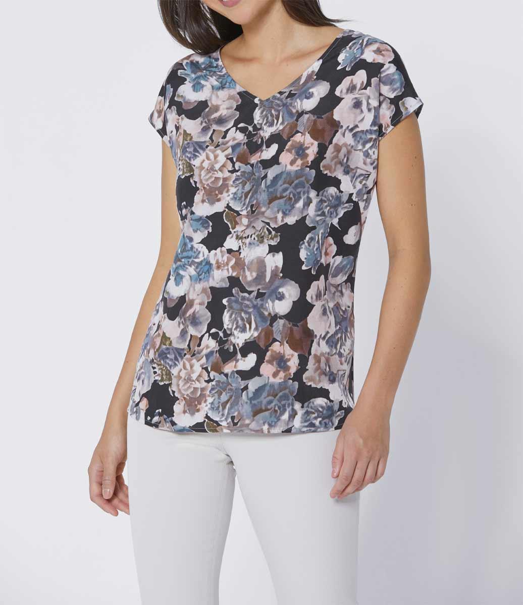Création L Premium Bluse, rosé-grau-bedruckt 718.709 Missforty