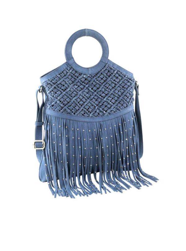 HEINE Veloursledertasche mit Fransen, jeansblau 772.002 Missforty.de