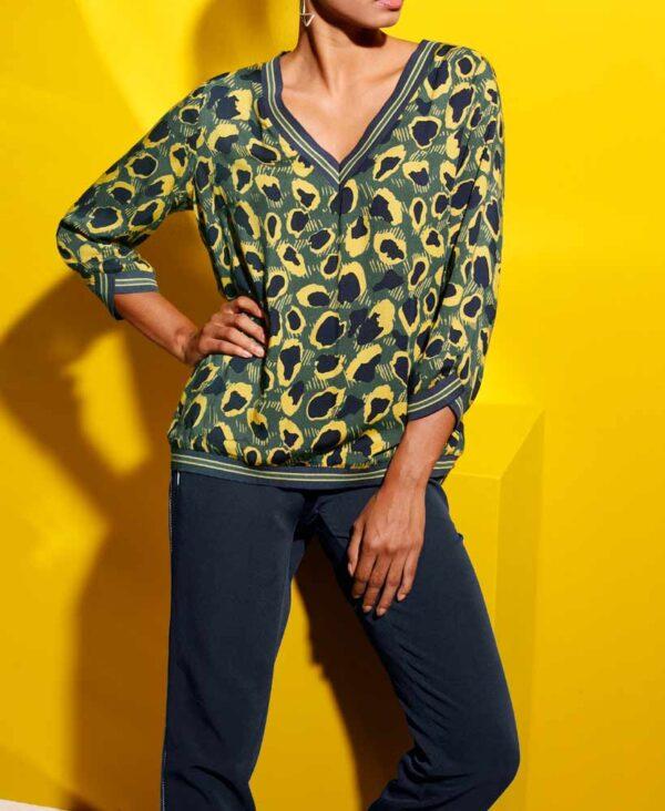 Création L Bluse, marine-gelb-bedruckt 775.689 Missforty