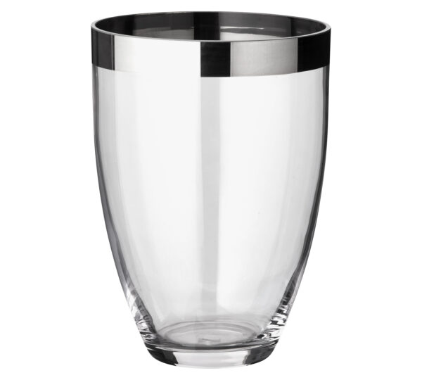 1224 Edzard Blumen Vase Charlotte mundgeblasen Kristallglas Platin Rand Glasvase 20cm