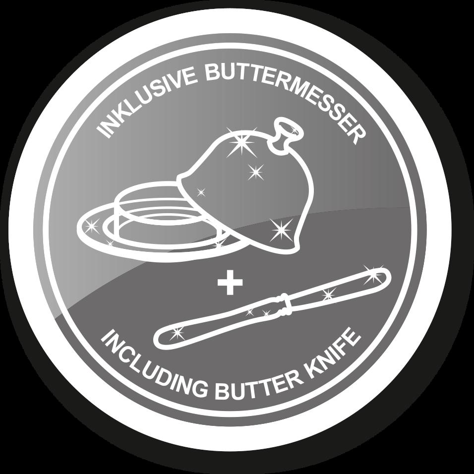 2272 Butterdose Mista 13x18 cm, H 8 cm, Glaseinsatz, edel versilbert, mit Buttermesser