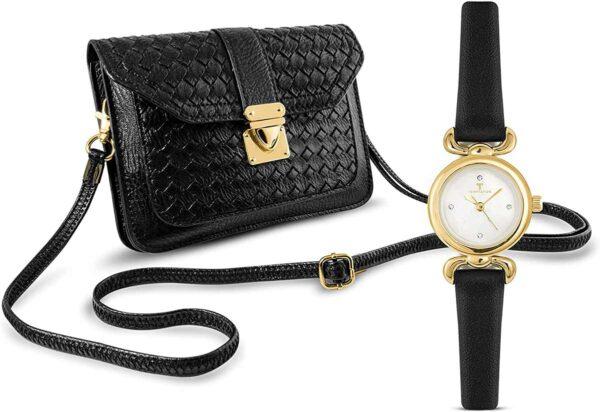 Temptation Damenuhr mit Handtasche schwarz goldfarben Missforty.de
