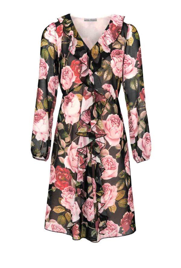 316.712 ASHLEY BROOKE Damen Druckkleid Blüten Rosa 316.712