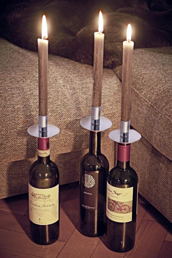 7908 Flaschenaufsatz Kerzenhalter, Edelstahl glänzend vernickelt, Höhe 8 cm