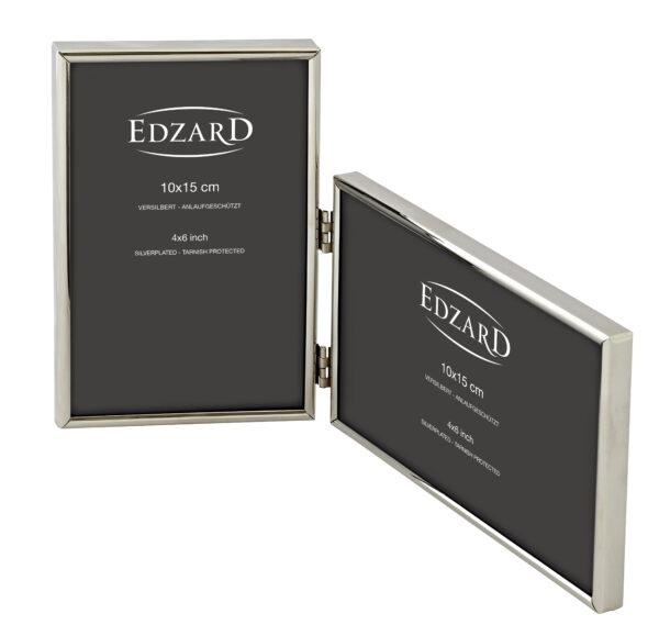 4543 Edzard Doppel-Fotorahmen Otto f 2 Fotos 10 x 15 Hochformat Querformat Versilbert